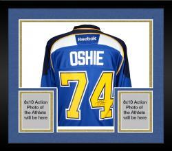 Framed T.J. Oshie St. Louis Blues Autographed Reebok Premier Home Jersey