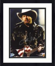 "Framed Toby Keith Autographed 8"" x 10"" Playing American Flag Guitar Photograph - Beckett COA"
