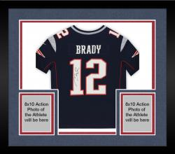 Framed Tom Brady New England Patriots Autographed ProLine Navy Jersey
