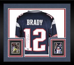 Framed Tom Brady New England Patriots Autographed ProLine Navy Jersey with SB 36 MVP Inscription