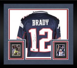 Framed Tom Brady New England Patriots Autographed ProLine Navy Jersey with SB 38 MVP Inscription
