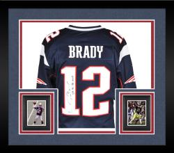 Framed Tom Brady New England Patriots Autographed ProLine Navy Jersey with SB XXXVI XXXVIII MVP Inscription