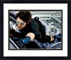 """Framed Tom Cruise Autographed 11"""" x 14"""" Mission Impossible Hanging From Building Photograph - PSA/DNA COA"""