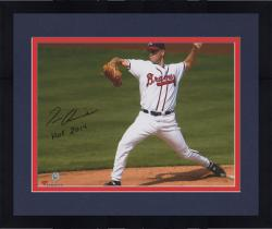 "Framed Tom Glavine Atlanta Braves Autographed 8"" x 10"" White Uniform Pitching Photograph with the inscirption HOF 14 Inscription"