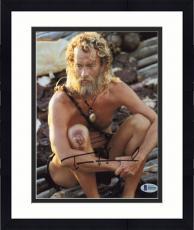 """Framed Tom Hanks Autographed 8"""" x 10"""" Cast Away Vertical Photograph - Beckett COA"""