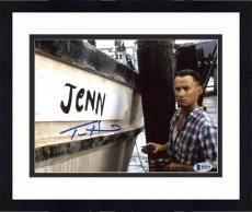 "Framed Tom Hanks Autographed 8"" x 10"" Forrest Gump Painting Jenny On Side of Boat Photograph - Beckett COA"