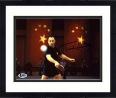 """Framed Tom Hanks Autographed 8"""" x 10"""" Forrest Gump Playing Ping Pong Photograph - Beckett COA"""