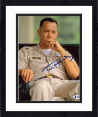 "Framed Tom Hanks Autographed 8"" x 10"" Forrest Gump Sitting Down In Army Uniform Photograph - Beckett COA"