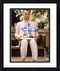 "Framed Tom Hanks Autographed 8"" x 10"" Forrest Gump Sitting on Bench in Park with Suitcase & Gift Vertical Photograph - Beckett COA"