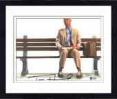 "Framed Tom Hanks Autographed 8"" x 10"" Forrest Gump Sitting on Bench with Gift Horizontal Photograph - Beckett COA"