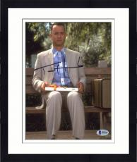 """Framed Tom Hanks Autographed 8"""" x 10"""" Forrest Gump Sitting on Bench with Gift Vertical Photograph - Beckett COA"""
