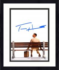 """Framed Tom Hanks Autographed 8"""" x 10"""" Forrest Gump Sitting on Bench with Suitcase from Behind White Background Photograph - Beckett COA"""
