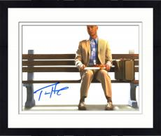 """Framed Tom Hanks Autographed 8"""" x 10"""" Forrest Gump Sitting on Bench with Suitcase & Gift White Background Photograph - Beckett COA"""