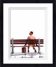 "Framed Tom Hanks Autographed 8"" x 10"" Forrest Gump Sitting on Bench with Suitcase Photograph - Beckett COA"