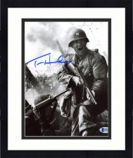 "Framed Tom Hanks Autographed 8"" x 10"" Saving Private Ryan Holding Gun Yelling in The Field Black & White Photograph - Beckett COA"