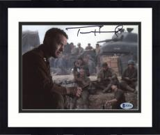 "Framed Tom Hanks Autographed 8"" x 10"" Saving Private Sitting Photograph - Beckett COA"