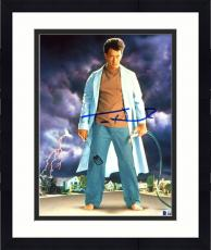"Framed Tom Hanks Autographed 8"" x 10"" The Burbs Standing in The Middle Of Street Holding Hose & Spatula Photograph - Beckett COA"