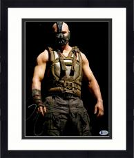 "Framed Tom Hardy Autographed 11"" x 14"" The Dark Night Rises Bane Standing with Black Background Photograph - Beckett COA"