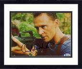 "Framed Tom Hiddleston Autographed 8"" x 10"" Holding Gun Photograph - Beckett COA"