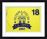 Framed Tom Lehman Autographed 2003 Olympia Fields US Open Pin Flag