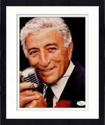 "Framed Tony Bennett Autograph 8"" x 10"" Holding Microphone Close to Face Photograph - JSA"