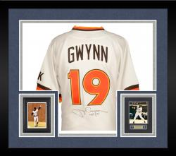 "Framed Tony Gwynn San Diego Padres Autographed Mitchell & Ness Jersey with ""HOF 07"" Inscription (PSA/DNA)"