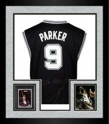 Framed Tony Parker San Antonio Spurs 2014 NBA Finals Autographed Replica Jersey with 2014 NBA Champs Inscription