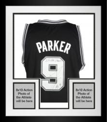 Framed Tony Parker San Antonio Spurs Autographed Adidas Black Swingman Jersey with 2014 NBA Champs Inscription