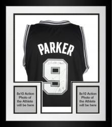 Framed Tony Parker San Antonio Spurs Autographed Adidas Black Swingman Jersey with 2014 NBA Champs Inscription