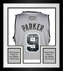 Framed Tony Parker San Antonio Spurs Autographed Adidas Gray Swingman Jersey with 2014 NBA Champs Inscription
