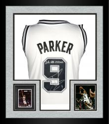Framed Tony Parker San Antonio Spurs Autographed Adidas White Swingman Jersey with 2014 NBA Champs Inscription