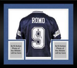 Framed Tony Romo Dallas Cowboys Autographed Reebok Blue Jersey