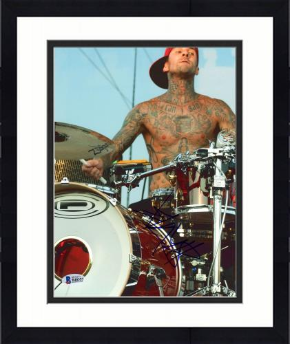 """Framed Travis Barker Autographed 8"""" x 10"""" Playing Drums Red Hat Photograph - BAS COA"""
