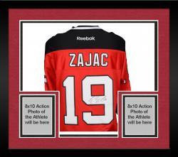 Framed Travis Zajac New Jersey Devils Autographed Red Reebok Premier Jersey