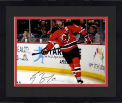 """Framed Travis Zajac New Jersey Devils Autographed Skating by Boards 16"""" x 20"""" Photograph"""