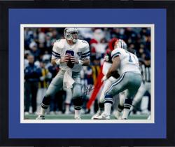 Framed Troy Aikman Dallas Cowboys Autographed 16'' x 20'' White Uniform Passing Photograph
