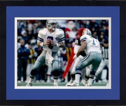 """Framed Troy Aikman Dallas Cowboys Autographed 16"""" x 20"""" White Uniform Passing Photograph"""
