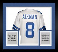 Framed Troy Aikman Dallas Cowboys Autographed Pro Line White Jersey with HOF 06 Inscription
