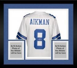 Framed Troy Aikman Dallas Cowboys Autographed Pro Line White Jersey with HOF 06 Inscription