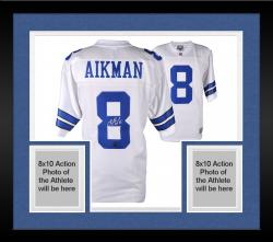 Framed Troy Aikman Dallas Cowboys Autographed Proline White Jersey with HOF 2006 Inscription