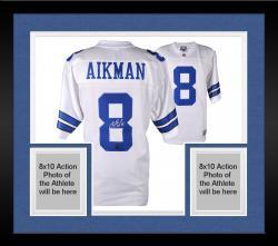 Framed Troy Aikman Dallas Cowboys Autographed Proline White Jersey with HOF 2006 Inscription