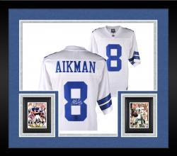 Framed Troy Aikman Dallas Cowboys Autographed Proline White Jersey with SB XXVII MVP  Inscription