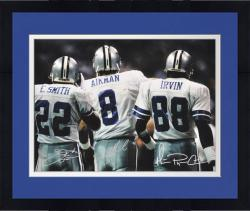 "Framed Troy Aikman, Emmitt Smith, & Michael Irvin Dallas Cowboys Triple Autographed 16"" x 20"" Back Shot Photograph"