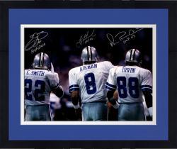 "Framed Troy Aikman, Michael Irvin, & Emmitt Smith Dallas Cowboys Autographed 16"" x 20"" Backshot Photograph with Multiple Inscriptions"