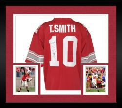 Framed Troy Smith Signed Jersey - Red Custom Mounted Memories