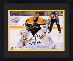 "Framed Tuukka Rask Boston Bruins Autographed 8"" x 10"" Crouched In Net Photograph"