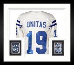 Framed Johnny Unitas Baltimore Colts Autographed White Jersey