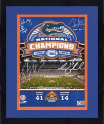 "Framed Urban Meyer, Percy Harvin, Chris Leak, and Tim Tebow Autographed 16"" x 20"" Photograph with ""06 National Champions"" Inscription"