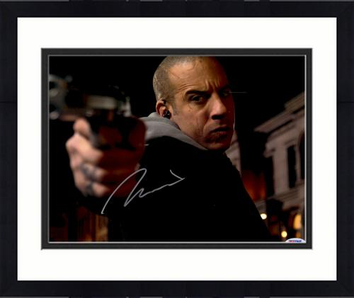 "Framed Vin Diesel Autographed 11"" x 14"" Pointing Gun Photograph - PSA/DNA"