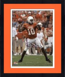 """Framed Vince Young Texas Longhorns Autographed 8"""" x 10"""" Throwing Photograph"""